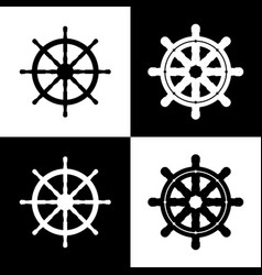 Ship wheel sign black and white icons and vector