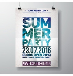Summer Beach Party Flyer Design with palm vector image