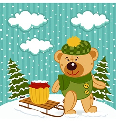 teddy bear winter vector image