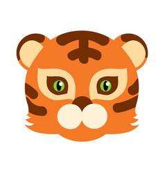 Tiger cat carnival mask striped orange brown beast vector