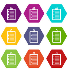 to do list icon set color hexahedron vector image