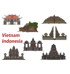 Travel landmarks of Vietnam and Indonesia vector image vector image