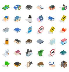 urban icons set isometric style vector image