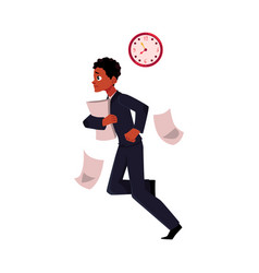 Young black african american businessman hurrying vector