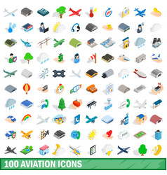 100 aviation icons set isometric 3d style vector image vector image