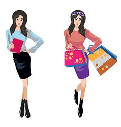 Shopping and business woman vector