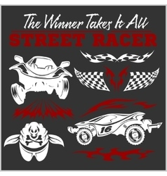 Car racing badges and elements Graphic design for vector image