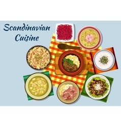 Scandinavian cuisine traditional lunch dishes vector