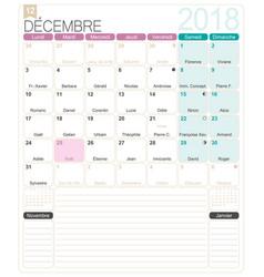 French calendar 2018 vector