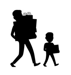 Father and son silhouettes carrying purchases vector