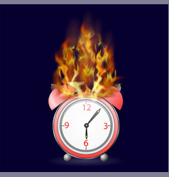 red alarm clock icon on fire flame vector image