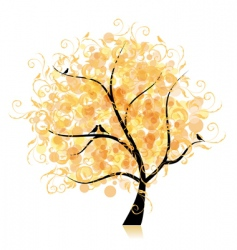 Art tree beautiful golden leaf vector