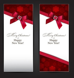 Greeting cards with red bow vector