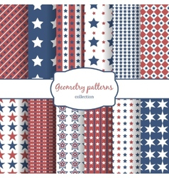 Stars and stripes pattern seamless patterns set vector