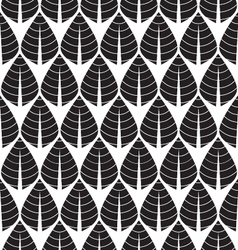 Black and white seamless leaf pattern vector