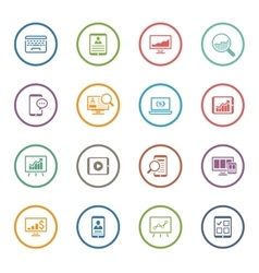 Flat Colored Business Icon Set vector image