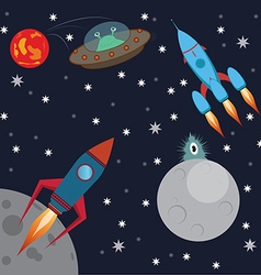 Space and aliens vector