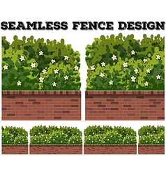 Seamless fence design with bush and flowers vector