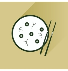 Flat with shadow icon miso soup sticks vector