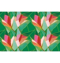 Multicolored seamless stained glass with floral vector