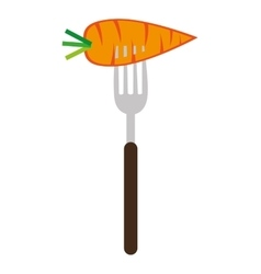 Carrot on a fork graphic vector