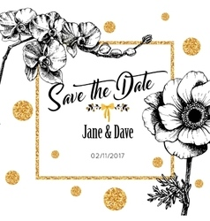 Save the date card template for anniversary vector