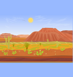 Cartoon prairie desert grand canyon landscape with vector