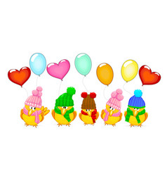 birds with balloons vector image