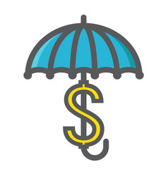 Business insurance colorful line icon umbrella vector