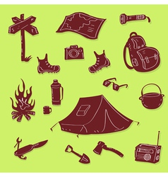 camping set vector image vector image