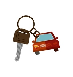 Car shaped key chain icon vector