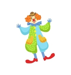 Colorful friendly clown in bowler hat in classic vector