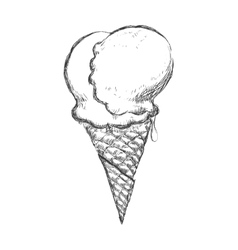 Cone of ice cream sketch icon dessert and sweet vector