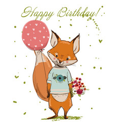 Cute birthday fox vector