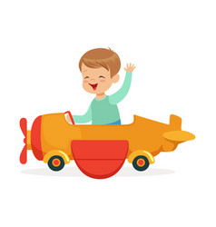 Cute little boy riding on toy airplane kid have a vector