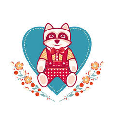 Cute raccoon greeting card vector