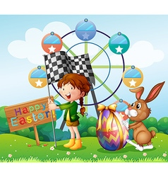 Easter festival with girl and bunny in the park vector