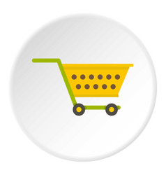 Empty yellow supermarket cart icon circle vector