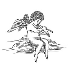Engraved angel musician on cloud vector