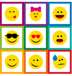 Flat icon gesture set of smile love delicious vector