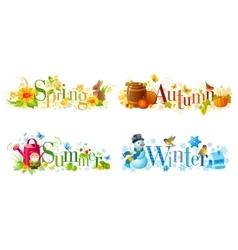 Four seasons calendar set Spring Summer Autumn vector image
