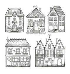 funny doodle houses hand drawn vector image vector image