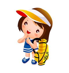 Girl carrying golf bag vector