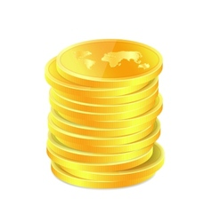 Golden coins with map vector