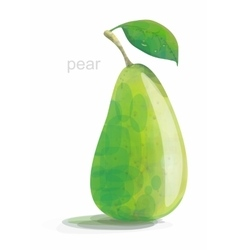 green pear low poly on a white background vector image