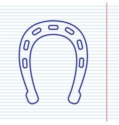 Horseshoe sign navy line vector