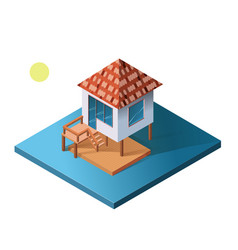 Isometric holiday apartment bungalow on water vector