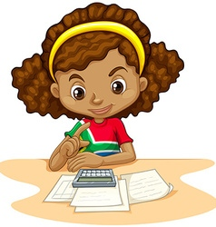 Little girl using calculator vector