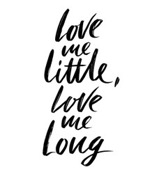 Love me little love me long hand drawn lettering vector