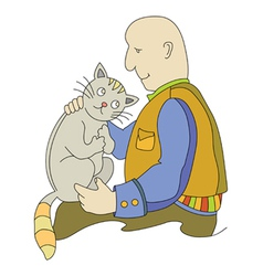 man and cat2 vector image